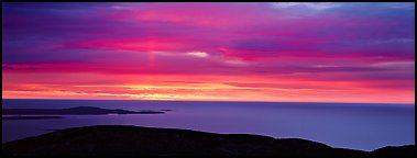 Red clouds over ocean at sunrise. Acadia National Park (Panoramic color)
