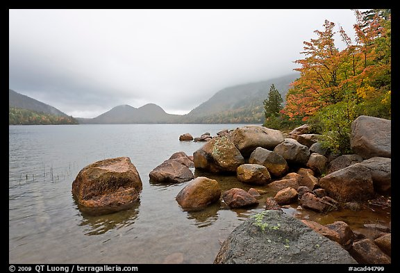 Boulders, autumn colors, and Bubbles, Jordan Pond. Acadia National Park (color)