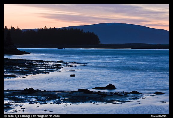 Pond and Cadillac Mountain at sunset, Schoodic Peninsula. Acadia National Park (color)
