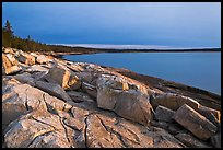 Granite slabs on coast, sunrise, Schoodic Peninsula. Acadia National Park, Maine, USA. (color)