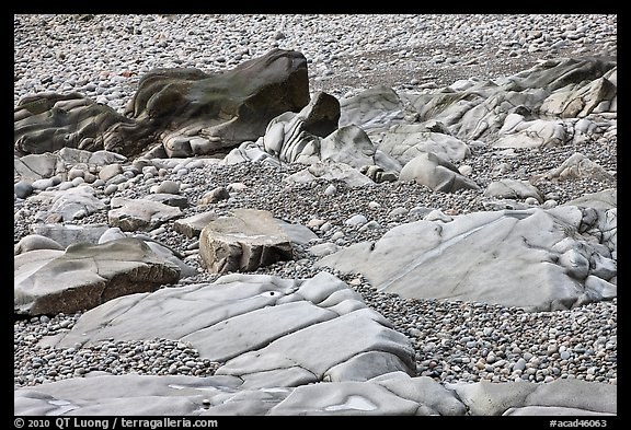 Slabs and pebbles on beach, Schoodic Peninsula. Acadia National Park (color)