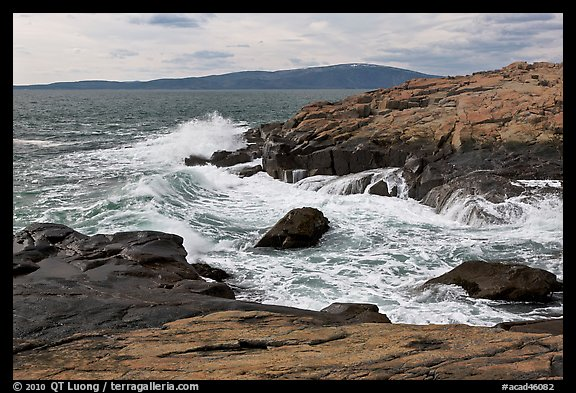 Wave, Schoodic Point, and Cadillac Mountain. Acadia National Park (color)