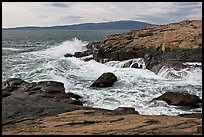 Wave, Schoodic Point, and Cadillac Mountain. Acadia National Park, Maine, USA. (color)