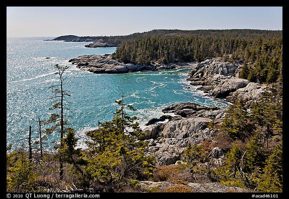 Coastline seen from Goat Trail, Isle Au Haut. Acadia National Park (color)