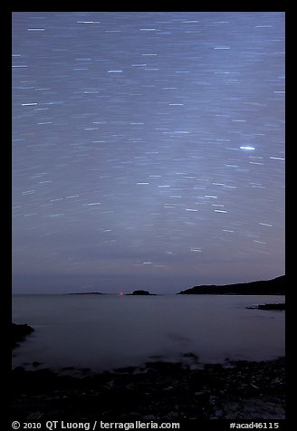 Night sky with star trails, Schoodic Peninsula. Acadia National Park (color)
