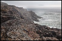 Coastline and offshore fog. Acadia National Park ( color)