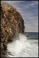 Surf crashing at base of Great Head. Acadia National Park, Maine, USA. (color)