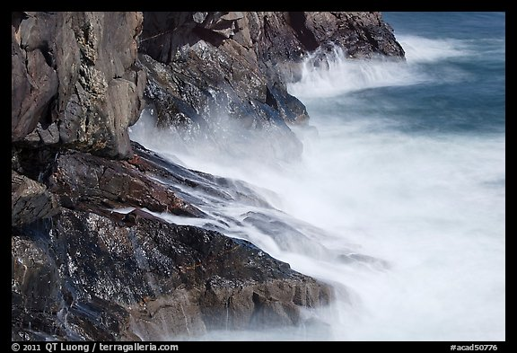 Fog-like water from long exposure at base of cliff. Acadia National Park (color)
