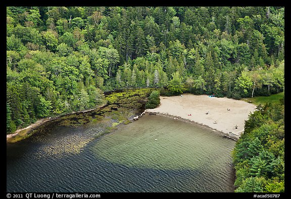 Beach on Echo Lake seen from above. Acadia National Park (color)