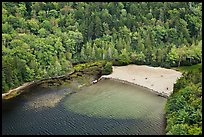 Beach on Echo Lake seen from above. Acadia National Park, Maine, USA. (color)