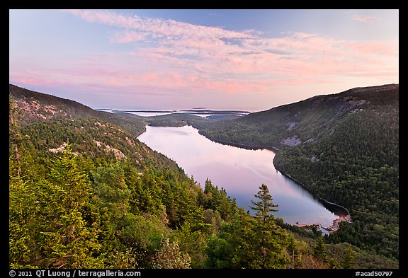 Hills, Jordan Pond, and sunset clouds. Acadia National Park (color)
