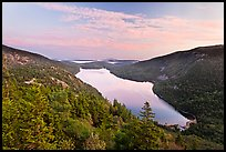 Hills, Jordan Pond, and sunset clouds. Acadia National Park, Maine, USA.