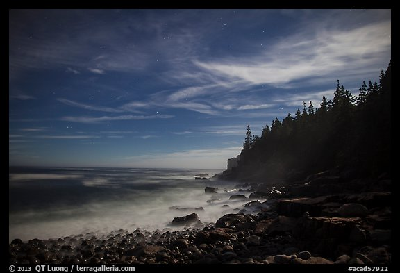 Coastline and Otter Cliffs at night. Acadia National Park (color)