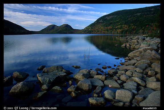 Rocks, Jordan Pond and the Bubbles. Acadia National Park (color)