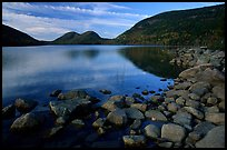 Rocks, Jordan Pond and the Bubbles. Acadia National Park, Maine, USA. (color)