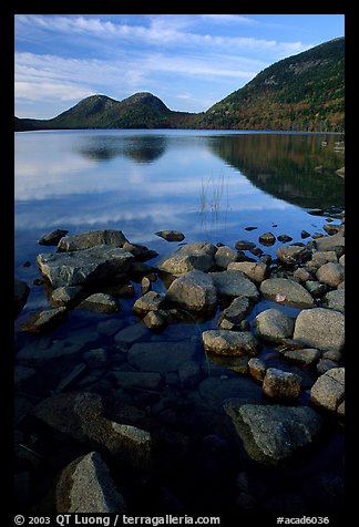 Jordan Pond and the hills named the Bubbles. Acadia National Park (color)