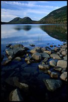 Jordan Pond and the hills named the Bubbles. Acadia National Park, Maine, USA. (color)