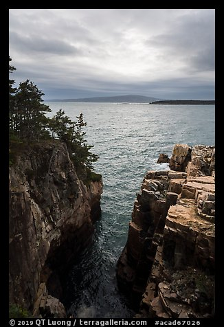 Sea cliffs of Ravens Nest and Cadillac Mountain. Acadia National Park (color)
