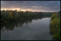 Congaree River under storm clouds at sunset. Congaree National Park, South Carolina, USA. (color)