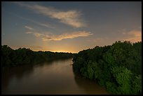 Congaree river at night from Bates Bridge. Congaree National Park ( color)