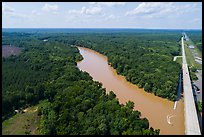 Aerial view of Congaree River, Bates Bridge and flooded landing. Congaree National Park ( color)