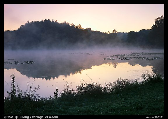 Mist raising from Kendall Lake at sunrise. Cuyahoga Valley National Park (color)