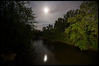 Cuyahoga River and moon at night. Cuyahoga Valley National Park ( color)