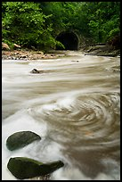 Tinkers Creek flowing into Viaduct Bridge, high flow, Bedford Reservation. Cuyahoga Valley National Park ( color)