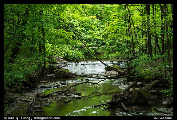 Deerlick Creek with cascade, Bedford Reservation. Cuyahoga Valley National Park (color)