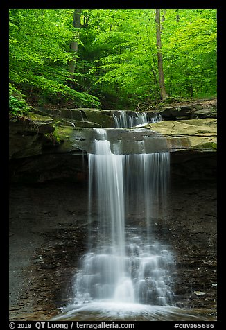 Blue Hen Falls dropping over ledge in summer. Cuyahoga Valley National Park (color)