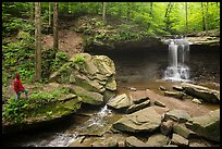 Visitor looking, Blue Hen Falls. Cuyahoga Valley National Park ( color)