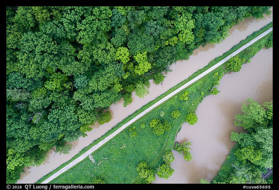 Aerial view of Ohio Erie Canal, Towpath Trail and Cuyahoga River. Cuyahoga Valley National Park (color)