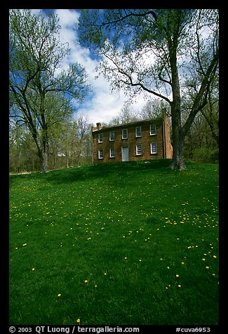 Frazee house with spring wildflowers. Cuyahoga Valley National Park (color)