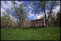 Frazee house with spring wildflowers. Cuyahoga Valley National Park, Ohio, USA. (color)
