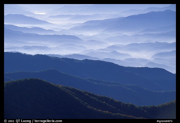 Blue ridges and valley from Clingman's dome, early morning, North Carolina. Great Smoky Mountains National Park (color)