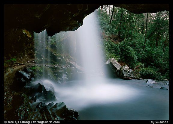 Grotto falls seen from under overhang, Tennessee. Great Smoky Mountains National Park (color)