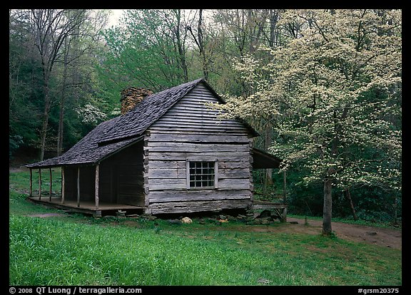Noah Ogle log cabin in the spring, Tennessee. Great Smoky Mountains National Park (color)