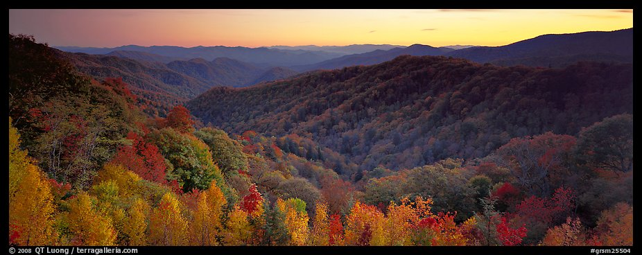 Appalachian autunm landscape of hills with trees in colorful foliage at sunset. Great Smoky Mountains National Park (color)