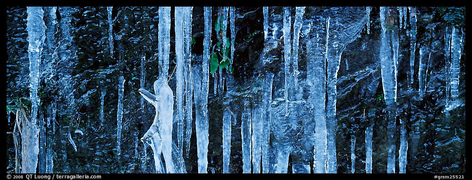 Close-up of icicle formation in winter. Great Smoky Mountains National Park (color)