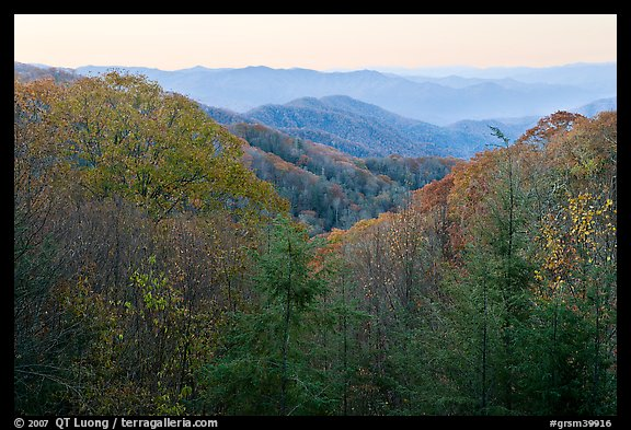 View over mountains in fall colors at dawn, North Carolina. Great Smoky Mountains National Park (color)