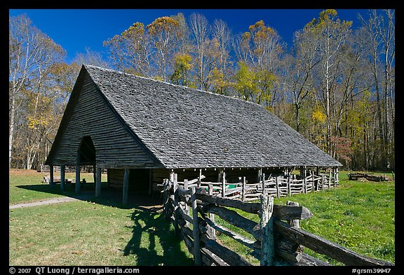 Cantilever barn and fence, Oconaluftee, North Carolina. Great Smoky Mountains National Park (color)
