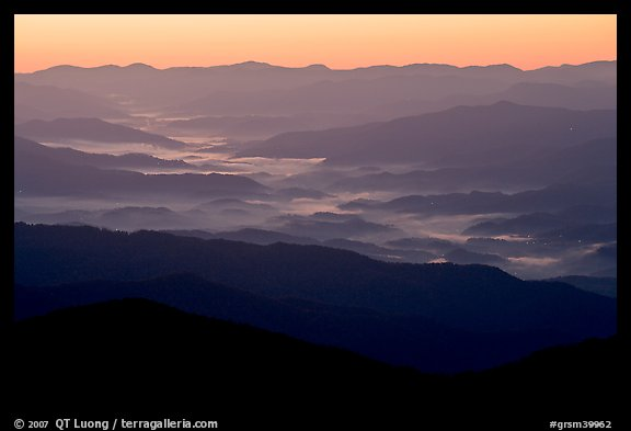 Ridges and valley fog seen from Clingman Dome, sunrise, North Carolina. Great Smoky Mountains National Park, USA.