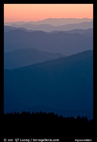 Mountain ridges seen seen from Clingman Dome and sunrise glow, North Carolina. Great Smoky Mountains National Park (color)