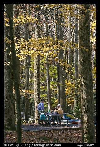 Family at picnic table in autumn forest, Tennessee. Great Smoky Mountains National Park (color)