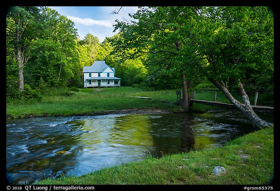 River and Caldwell House, Cataloochee, North Carolina. Great Smoky Mountains National Park (color)