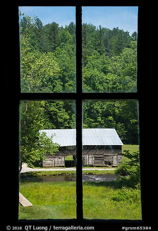 Caldwell Barn from Caldwell House window, Cataloochee, North Carolina. Great Smoky Mountains National Park (color)