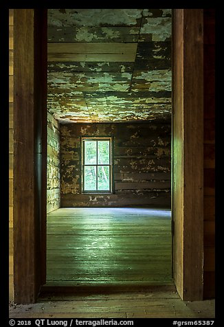 Empty room, Caldwell House, Cataloochee, North Carolina. Great Smoky Mountains National Park (color)