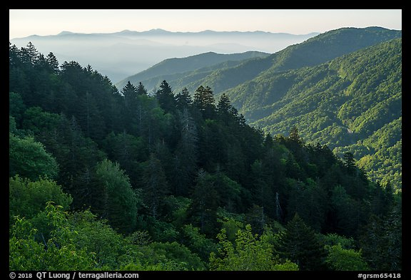 Ridges from Newfound Gap, North Carolina. Great Smoky Mountains National Park (color)