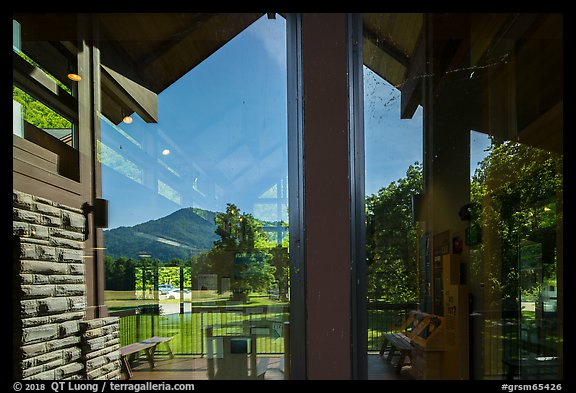 Window reflexion, Oconaluftee Visitor Center, North Carolina. Great Smoky Mountains National Park (color)