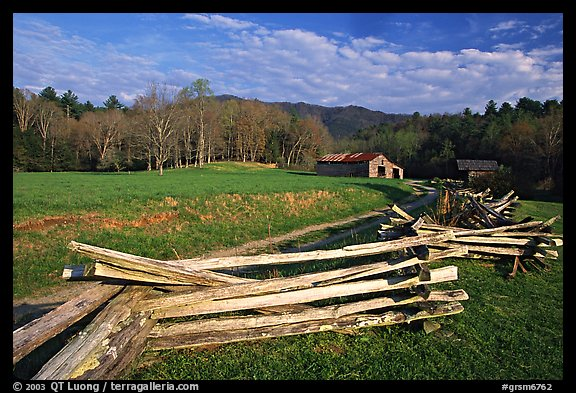 Wooden fence, pasture, and cabin, late afternoon, Cades Cove, Tennessee. Great Smoky Mountains National Park (color)